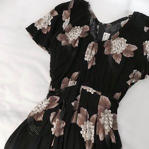 80s Floral Smocked Dress